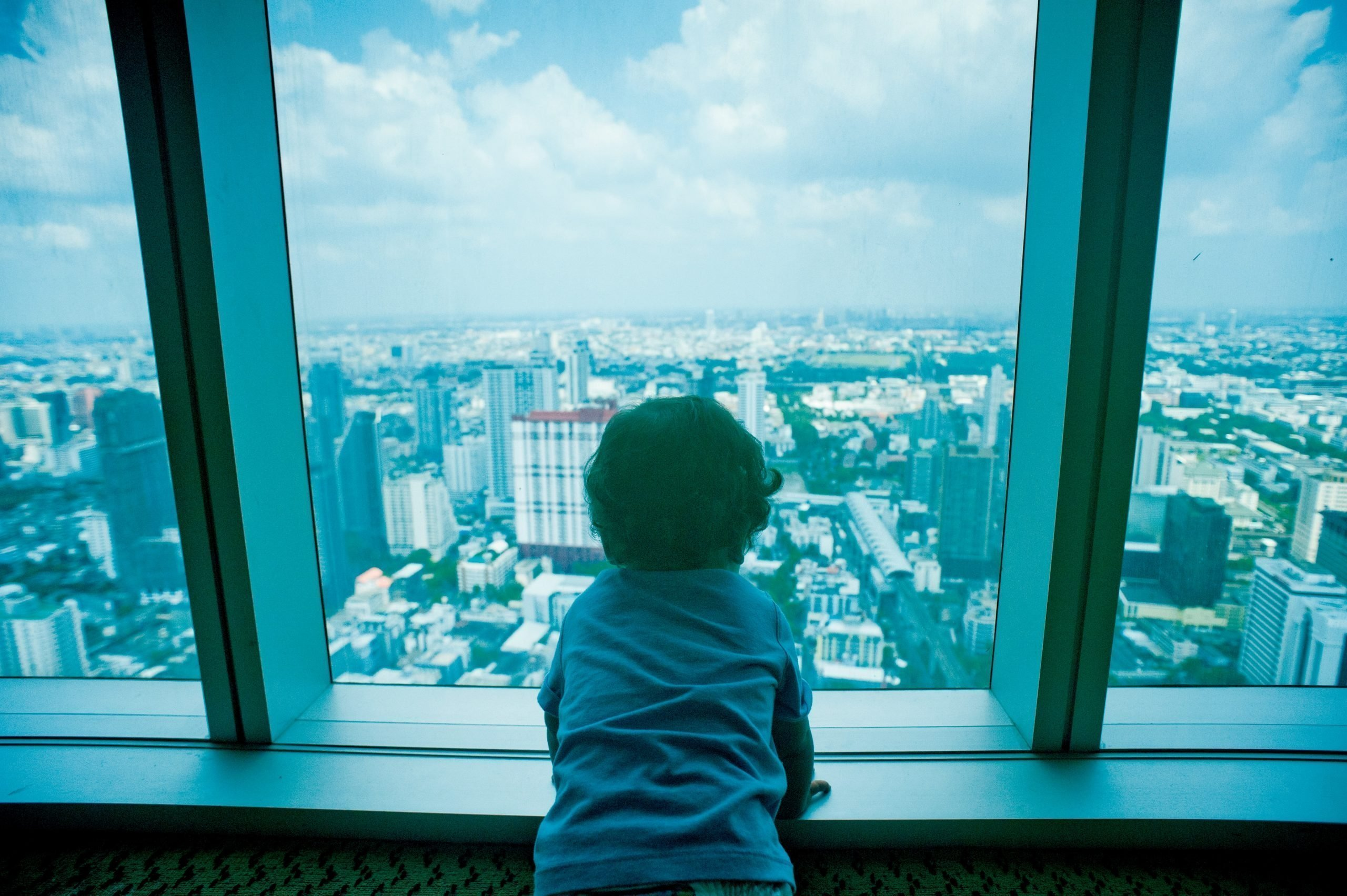 This is a picture a boy looking out onto a vast city for an article called Market Intelligence how big is your world by Octopus Competitive Intelligence consultancy for Competitor Analysis and market intelligence services