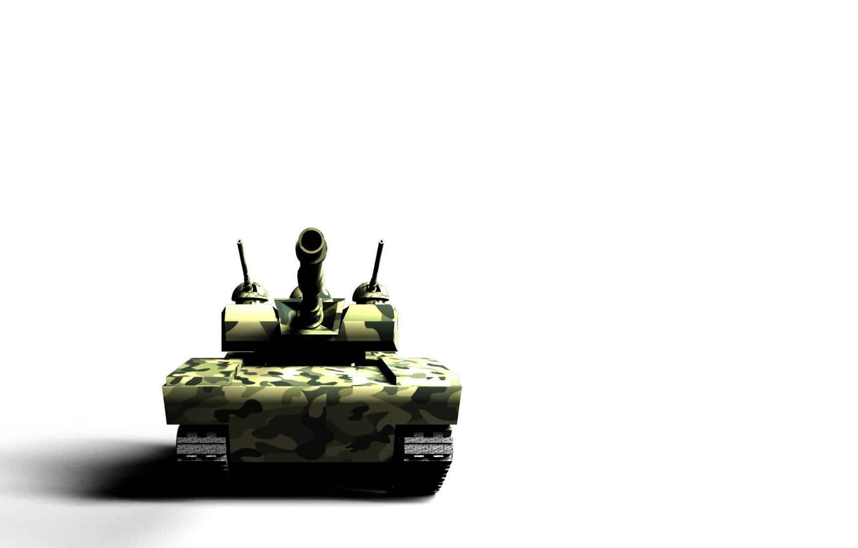 This is a picture of a Frontal 3D render of a green military tank with camouflage texture on white background. for an article by Octopus Intelligence. We isolate your problems, reduce risk and uncertainty and deliver intelligence-led answers and innovative solutions. Dedicated to help you win.