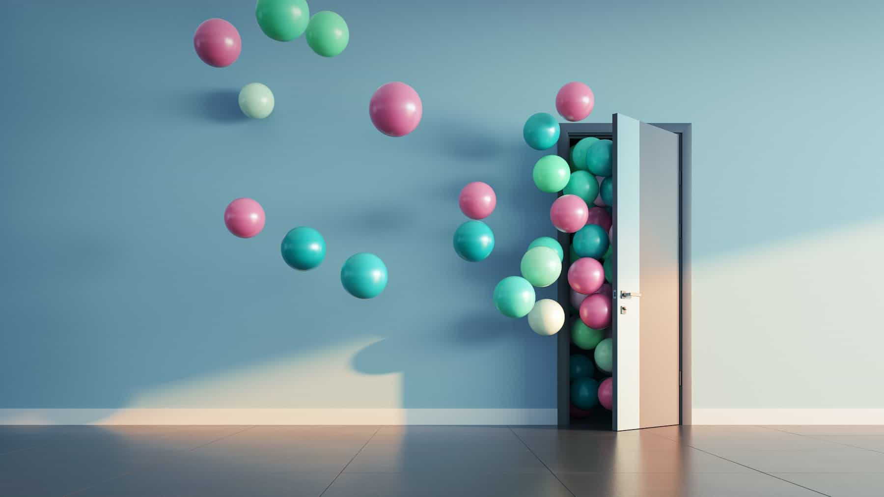 This is a picture of Balloons fly away through open door in office to representing Open Source information for an article by Octopus Intelligence beat competitors, increase sales, solve problems, Competitive Intelligence & Competitor Analysis with Octopus Intelligence