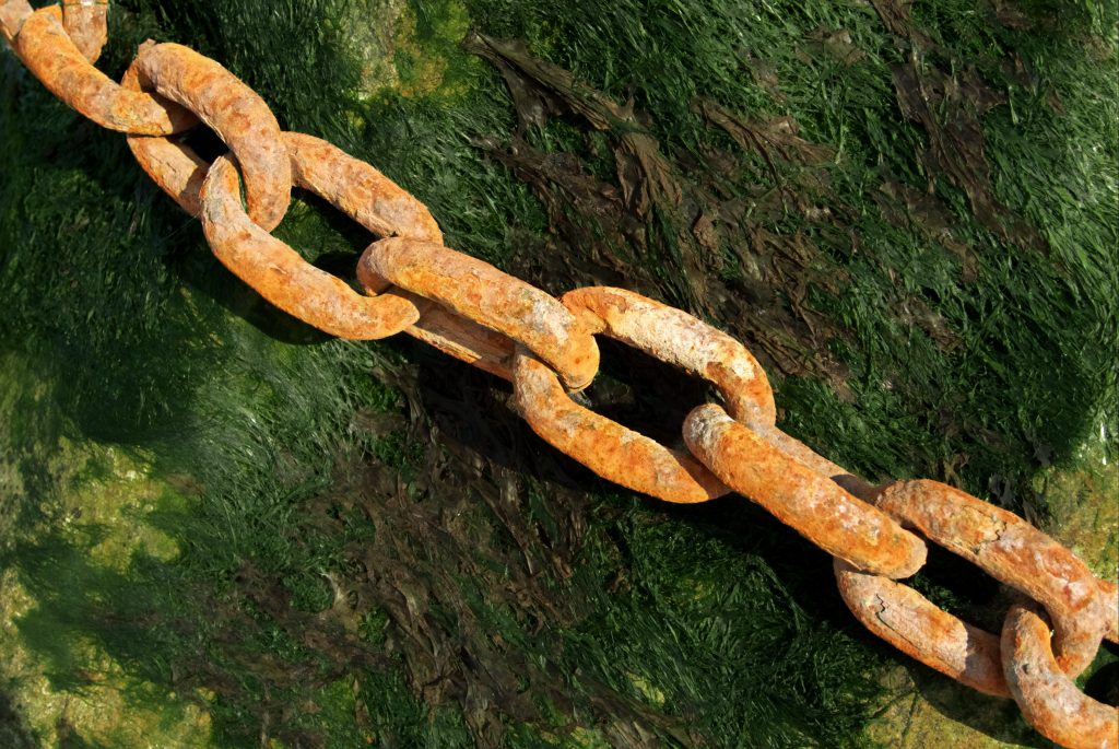 The is a picture of chains against an orange wall for an article called How Competitive Intelligence increased revenues by £5 million a year by Octopus Competitive Intelligence consultancy for Competitor Analysis and market intelligence services