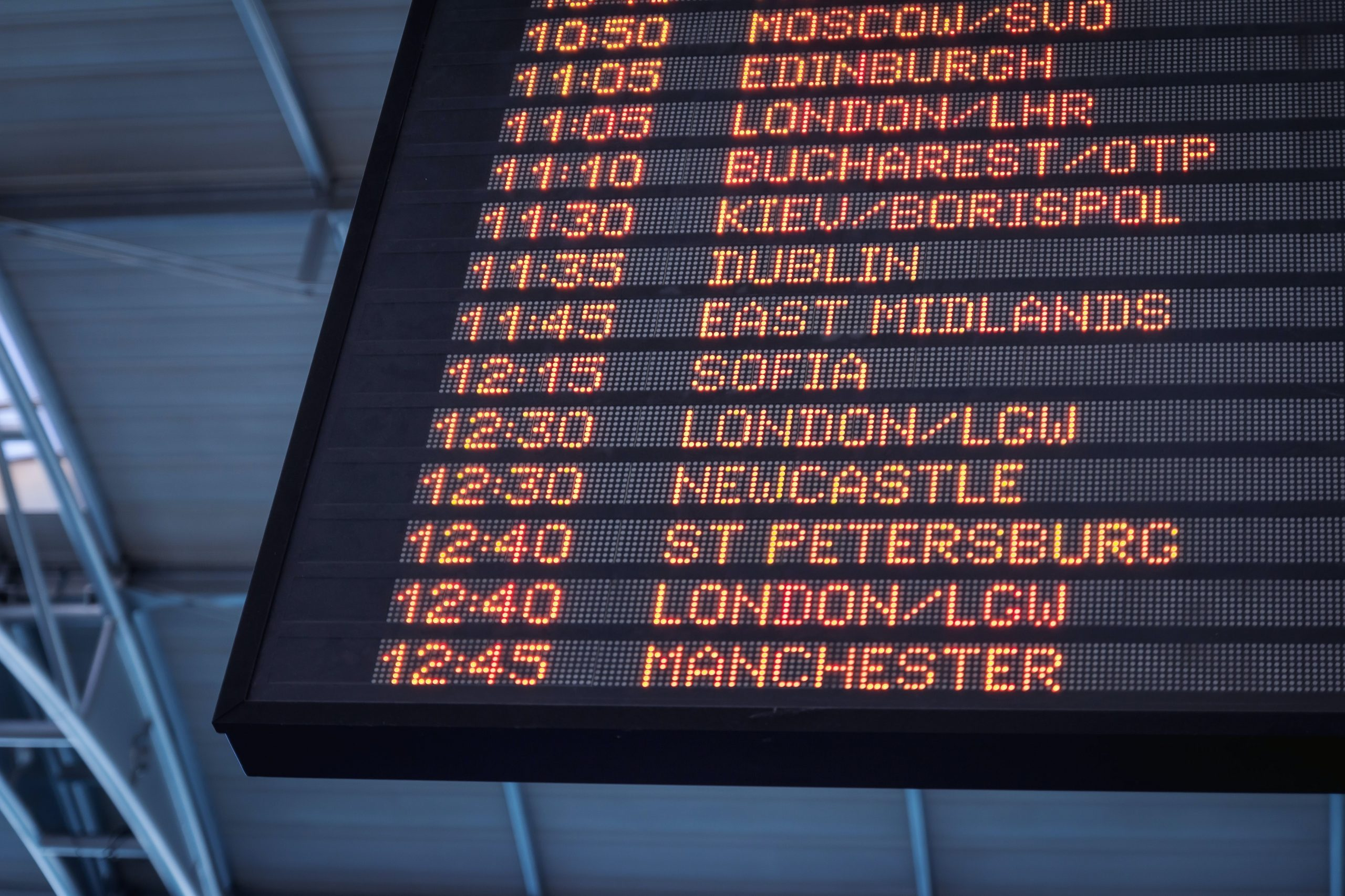 This is a picture of an airport departure board for an article called Competitive Intelligence questions to NATS Strategy Analysis and Development manager by Octopus Competitive Intelligence Competitor Analysis and Corporate Investigations