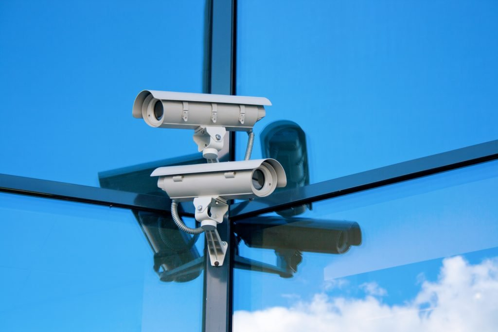 This is a picture of a field of CCTV cameras on an office block for a case study called CCTV Technology Market Analysis Case Study by Octopus is a Competitive Intelligence Competitor Analysis focused on creating certainty