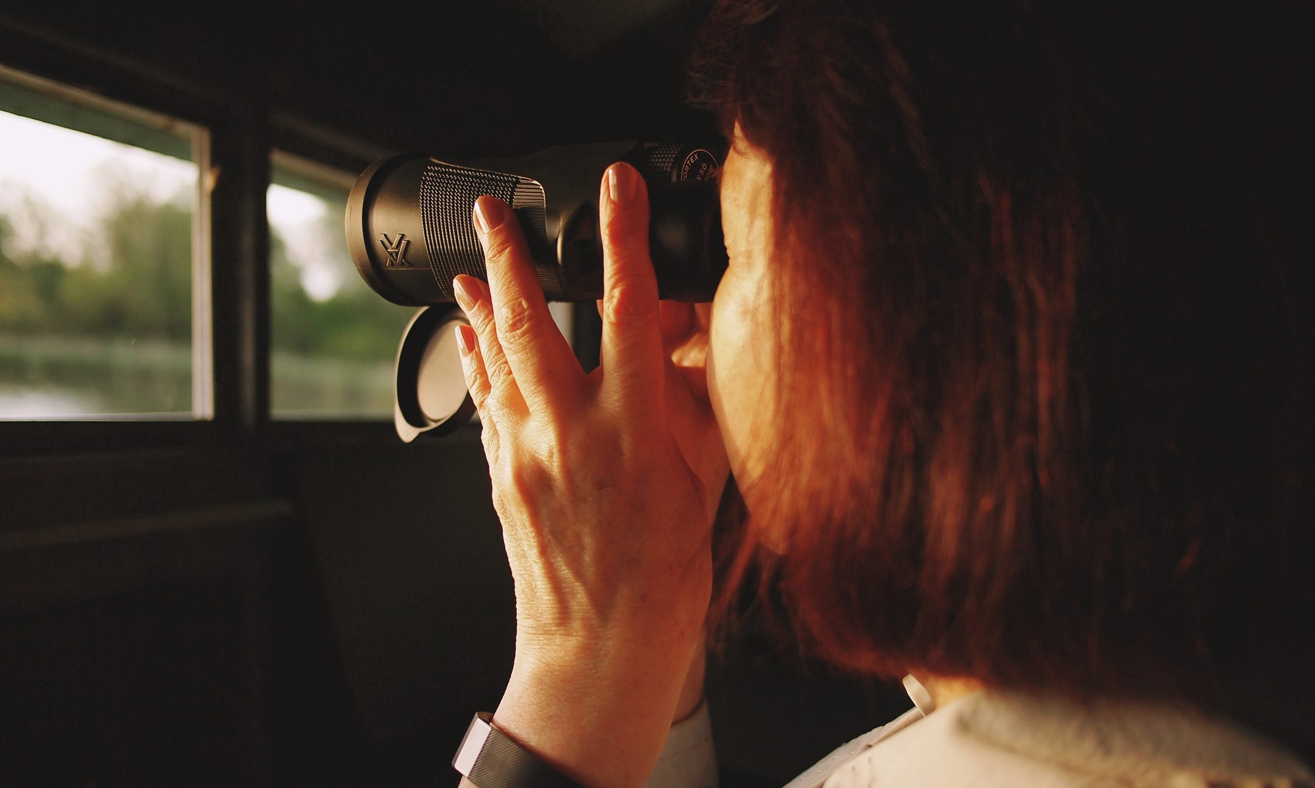This is a picture of girl using binoculars in a bird hide for an article called How to Find Out things About my Competitors by Octopus is a Competitive Intelligence Competitor Analysis focused on creating certainty