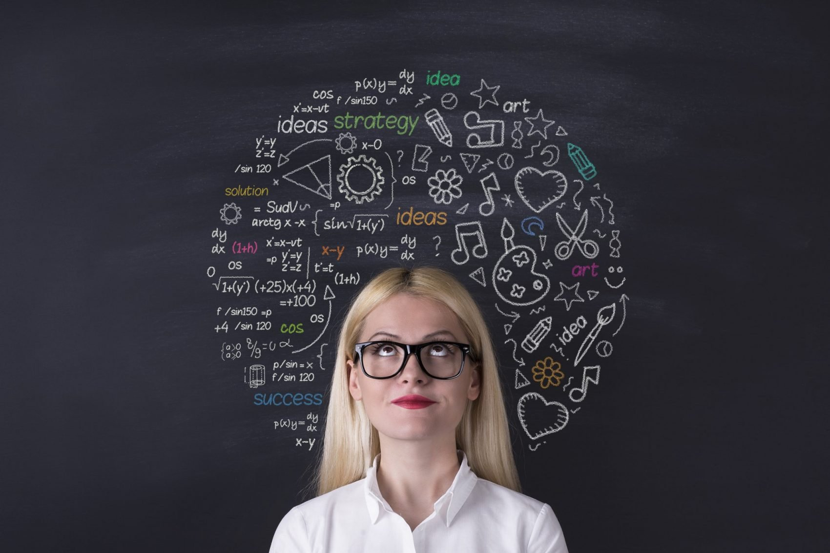 This is picture of a Business woman brain hemisphere on the blackboardfor an article called Why Competitive Intelligence And Data Analytics Are Different But Work Well Together by Octopus Competitive Intelligence Competitor Analysis focused on creating certainty