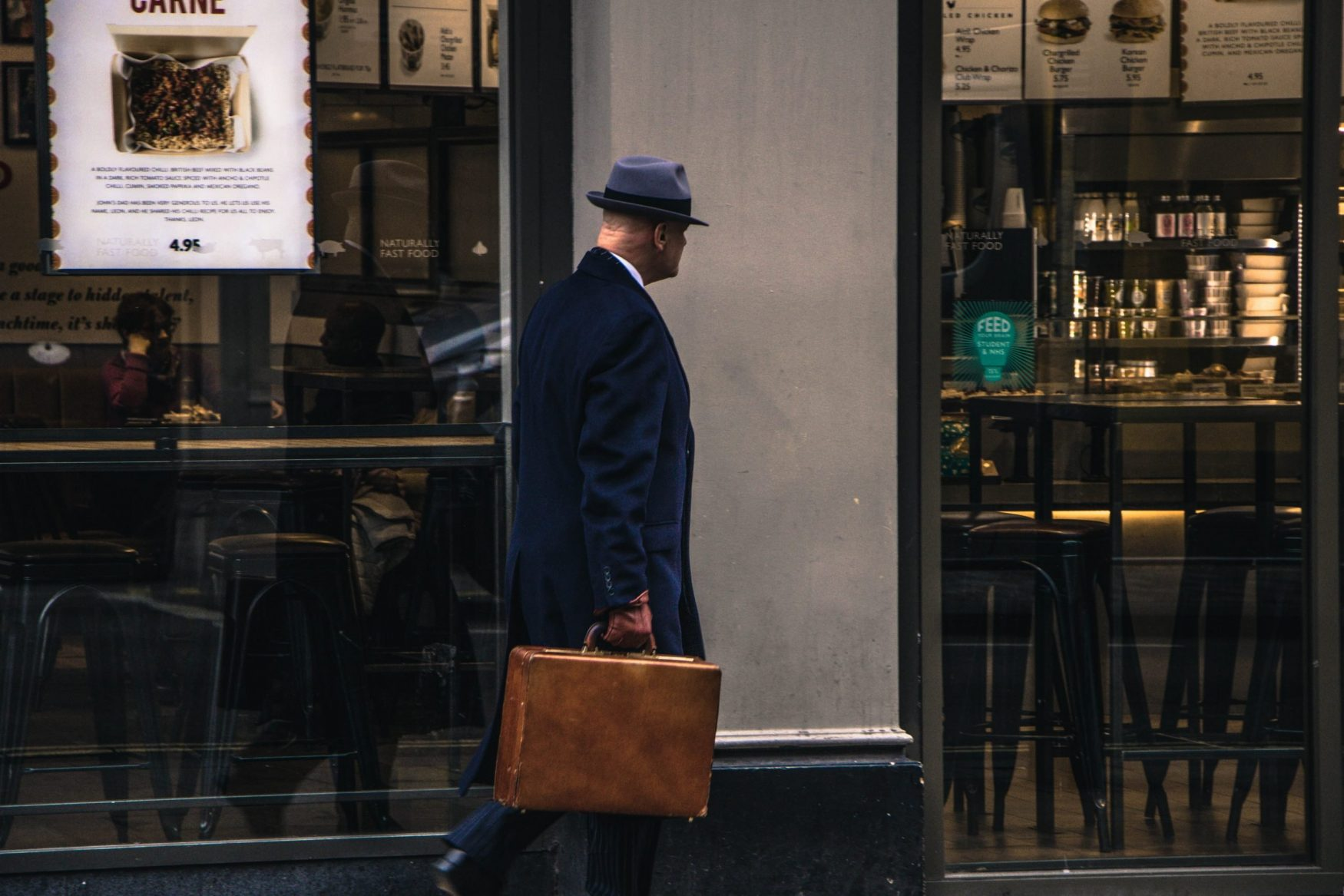 This is a picture of a man with a hat and long jacket in Berlin for an article called Is Competitive Intelligence Exciting as a James Bond or Le Carre Spy Novel by Octopus Competitive Intelligence Competitor Analysis focused on creating certainty